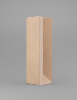 Eco verpakking mockup tas kraftpapier halve zijde. lang smal bruin sjabloon op grijze promotionele reclame als achtergrond. 3d-weergave