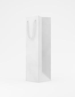 Eco verpakking mockup tas kraftpapier met handvat halve zijde. lang smal wit sjabloon op witte promotionele reclame als achtergrond. 3d-weergave
