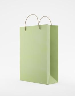 Eco verpakking mockup tas kraftpapier met handvat halve zijde. standaard medium groene sjabloon op witte achtergrond promotionele reclame. 3d-weergave