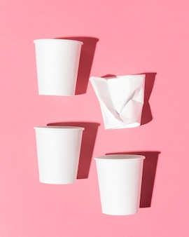 Eco-vriendelijke cups bovenaanzicht