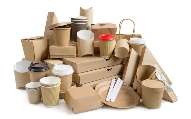 Eco vriendelijke fastfood containers geïsoleerd op wit