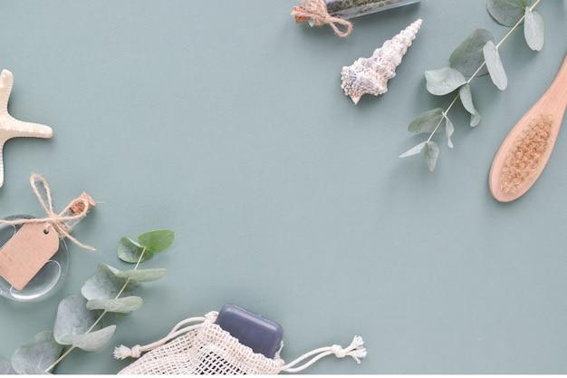Ecocosmetica platte lay-out bovenaanzicht een plek om te kopiëren