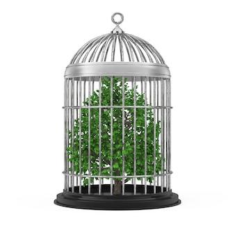 Ecologie concept. groene boom in metalen kooi op een witte achtergrond. 3d-rendering