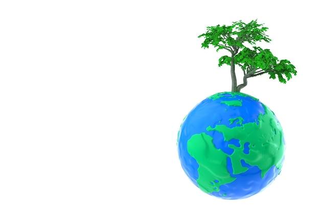 Ecologie concept. groene boom over plasticine clay earth globe op een witte achtergrond. 3d-rendering