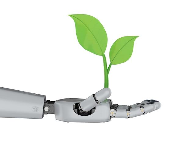 Ecologie technologie concept met 3d-rendering robotarm met groene bladeren