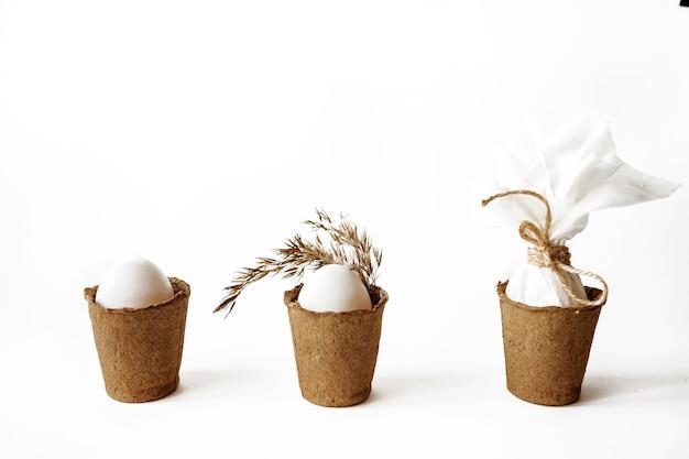 Ecologisch concept met witte paaseieren. twijn, pampagras.