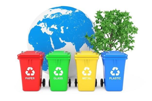 Ecologisch concept. rood, groen, geel en blauw prullenbakken met recycle symbolen, earth globe en groene boom op een witte achtergrond. 3d-rendering