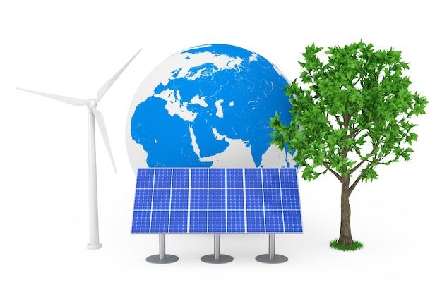 Ecologisch energieconcept. blauwe zonnecel patroon paneel, windturbine windmolen, earth globe en groene boom op een witte achtergrond. 3d-rendering