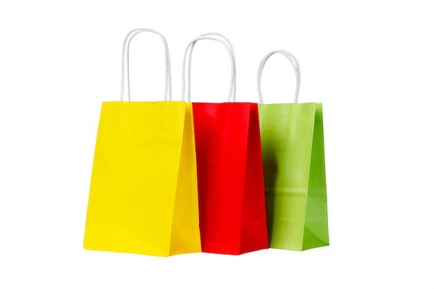 Ecologische recycling set van gekleurde papieren boodschappentassen