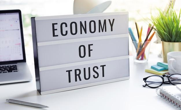 Economie van vertrouwen en zakelijke marketing.branding tot succes.geen mensen