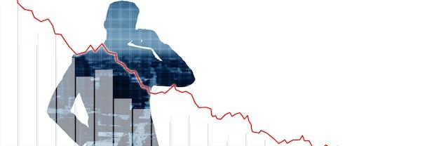 Economisch crisisconcept. verspreid over de wereld, de economie daalt. 3d illustratie