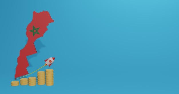 Economische groei in marokko voor de behoeften van sociale media-tv en website-achtergrondafdekking lege ruimte kan worden gebruikt om gegevens of infographics in 3d-weergave weer te geven