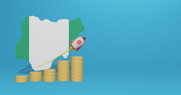 Economische groei in nigeria voor de behoeften van sociale media-tv en website-achtergrondafdekking lege ruimte kan worden gebruikt om gegevens of infographics in 3d-weergave weer te geven