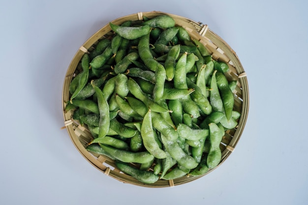 Edamame japan bean on basket