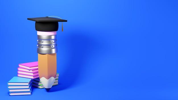 Educatief concept. 3d-weergave van een potlood en boeken over blauwe muur.