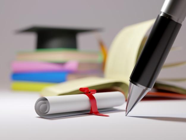 Educatief concept. 3d-weergave van pen en boeken op vervagen muur.