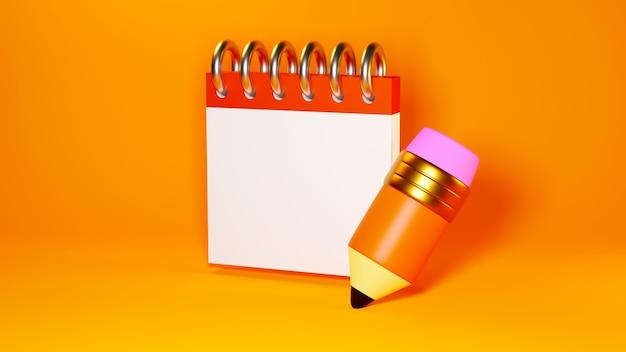 Educatief concept. 3d-weergave van potlood en leerboek op oranje muur.