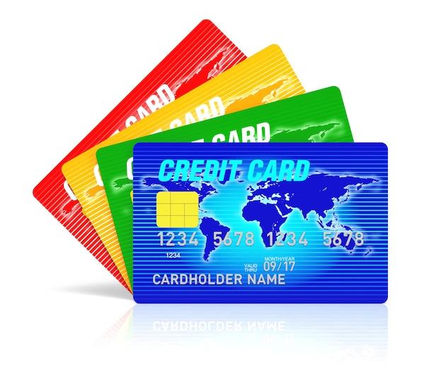 Een 3d-rendering blauwe creditcard met kluis