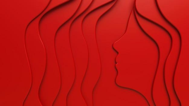 Een 3d-rood plat woman's face-silhouet tussen abstracte golven