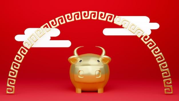 Een 3d teruggegeven illustratie van een dierenriem os-model met chinees rood en goud.