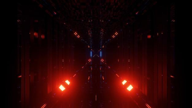 Een 3d-weergave van een futuristische achtergrond met neon rode en blauwe lichten