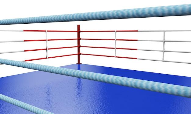 Een 3d-weergave van een moderne boksring met tegengestelde blauwe en rode hoeken op een afgelegen witte studioachtergrond