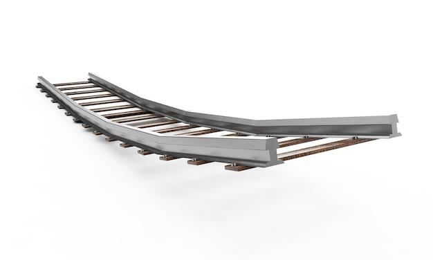 Een 3d-weergave van een treinspoor dat in de verte verdwijnt op een afgelegen wit