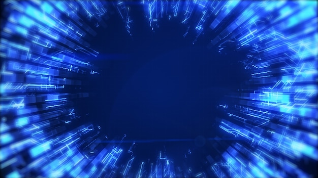 Een abstracte gladde blauwe lichtgevende cirkel groeit en dempt