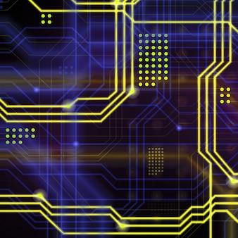 Een abstracte technologische achtergrond bestaande uit een veelheid aan lichtgevende geleidingslijnen en punten die een soort fysiek moederbord vormen. gele en blauwe kleur