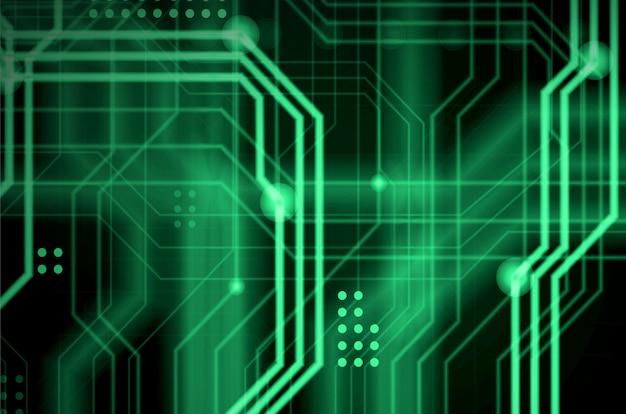 Een abstracte technologische achtergrond bestaande uit een veelheid aan lichtgevende geleidingslijnen en punten die een soort fysiek moederbord vormen. groene kleur