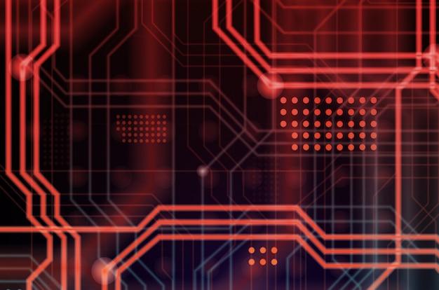 Een abstracte technologische achtergrond bestaande uit een veelheid aan lichtgevende geleidingslijnen en punten die een soort fysiek moederbord vormen. rode en blauwe kleur