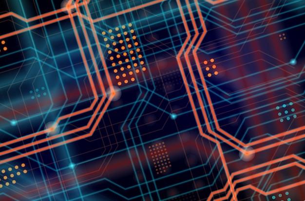 Een abstracte technologische achtergrond bestaande uit een veelheid van lichtgevende leidende lijnen en punten