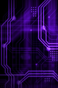 Een abstracte technologische achtergrond bestaande uit een veelvoud van lichtgevende geleidingslijnen en punten die een soort fysiek moederbord vormen. violette kleur