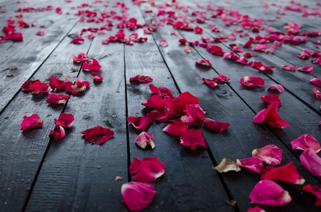 Een achtergrondafbeelding. rozenblaadjes op de vloer