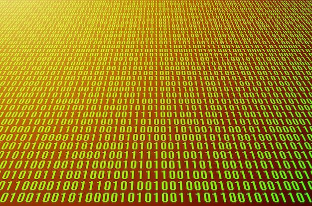 Een afbeelding van een binaire code die bestaat uit een reeks groene cijfers op een zwarte achtergrond. afgezwakt