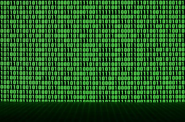 Een afbeelding van een binaire code die bestaat uit een reeks groene cijfers op een zwarte achtergrond