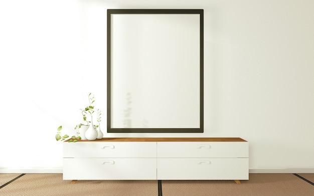 Een afbeelding van een zwarte hoed op de wandkast in de moderne zen-woonkamer. 3d-weergave