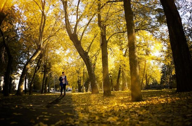 Een alleenstaande loopt alleen over het weidse natuurlandschap