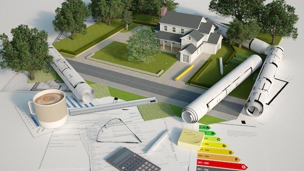 Een architectonisch en landschappelijk model met blauwdrukken