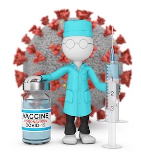 Een arts in een laboratoriumjas met een spuit en een vaccin staat tegen de achtergrond van een coronavirusmolecuul. 3d-weergave.