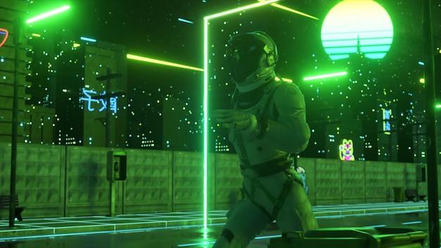 Een astronaut rent door de straat in een neonstad. jaren 80 achtergrond. retro stijl. futuristisch begrip. 3d illustratie