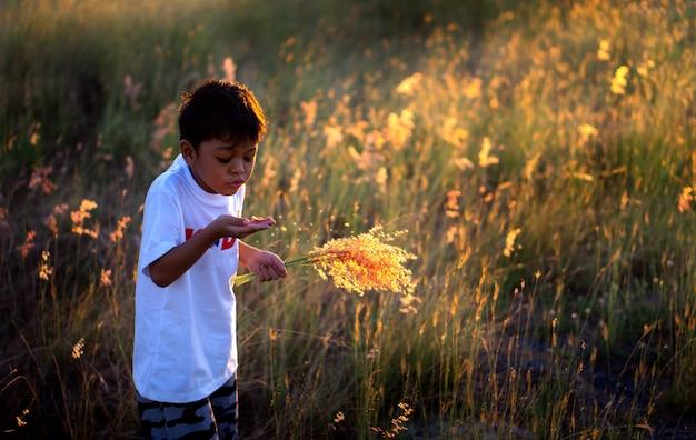 Een aziatische jongen die gras bloeit bloeit