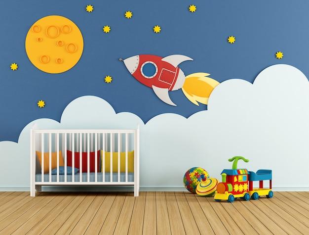Een babykamer met witte wieg en speelgoed