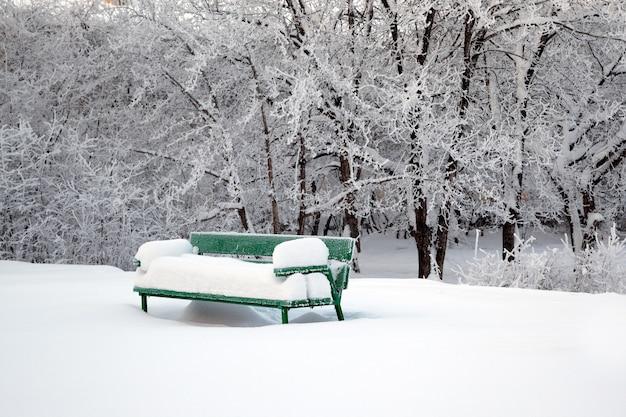 Een bankje en bomen bedekt met sneeuw na sneeuwval
