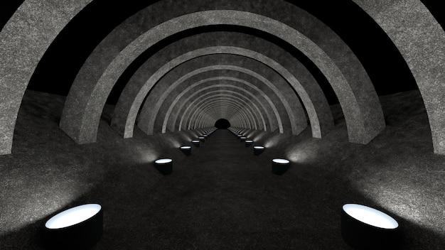 Een betonnen gangsjabloon met verlichting voor gebruik als achtergrond voor uw ontwerp. 3d-weergave