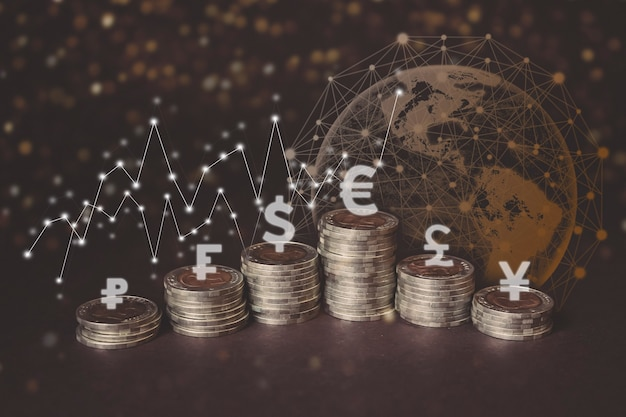 Een beurs- of forex-handelsgrafiek en een kandelaargrafiek die geschikt is voor het concept van financiële investeringen. de economie van trendachtergrond voor zakelijke ideeën en al het artworkontwerp.