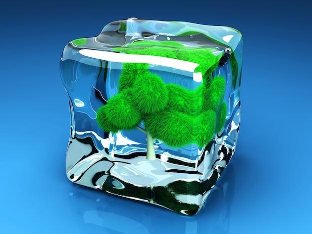Een bevroren boom in een ijsblokje. 3d weergegeven afbeelding.