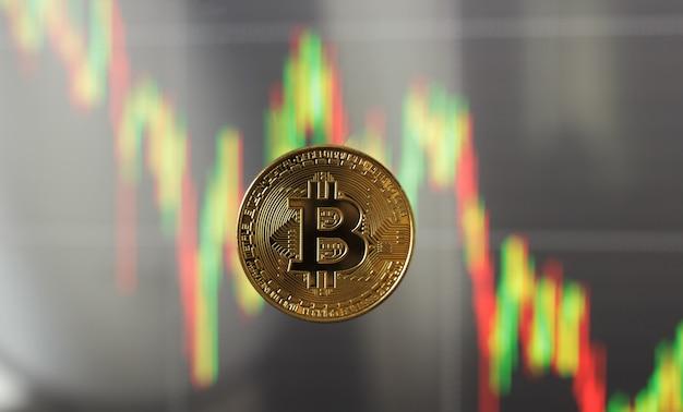 Eén bitcoin tegen de achtergrond van de groei en prijsdaling