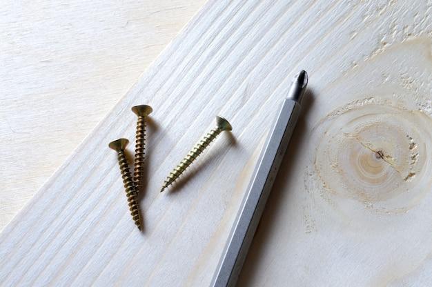 Een bitje voor een schroevendraaier en een paar zelftappende schroeven liggen op een stuk hout. detailopname.
