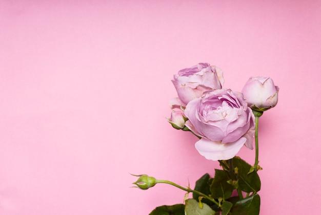Een boeket rozen op een roze achtergrond kopie ruimte